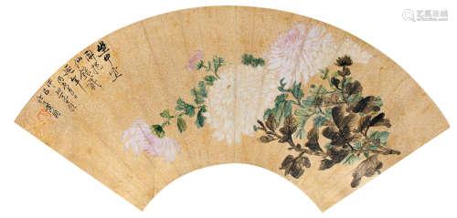 黃鞠  菊花  扇面