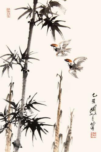 關山月  竹鳥