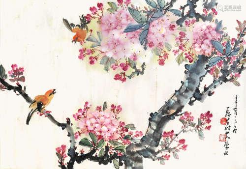 黃磊生  桃花小鳥