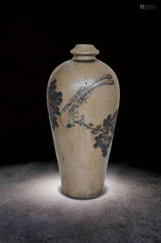 宋  磁州窯花鳥紋瓶