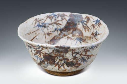 十九世紀  日本鐵繪竹紋瀨戶大碗