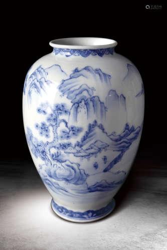 18世紀  日本手繪青花山水紋賞瓶