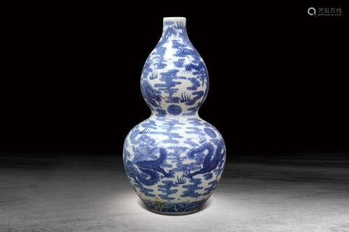 清  青花雲龍紋葫蘆瓶