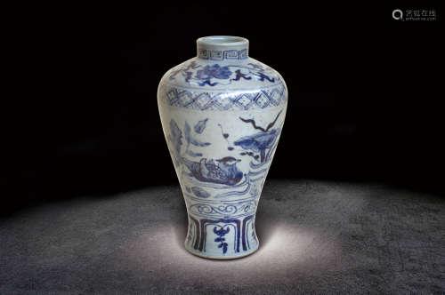 元  青花荷塘鴛鴦紋瓶