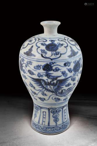 明  青花鳳紋梅瓶