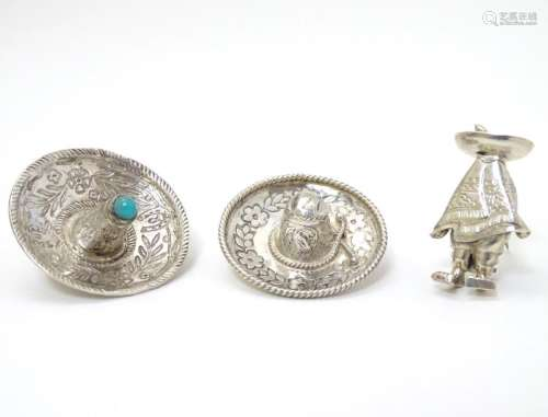 3 various mid-late 20thC Mexican silver brooches