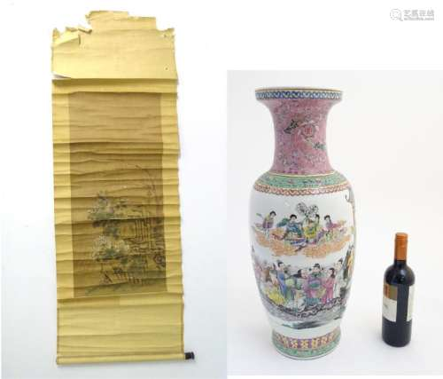 A large 20thC Chinese famille rose vase decorated with
