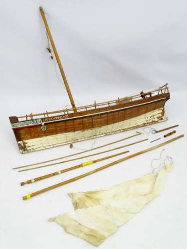 A scale ship lapped constructed model sail boat, the
