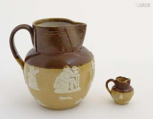 Two Royal Doulton two-tone salt glazed jugs. Decorated