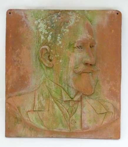 RJR, 1900, Terracotta plaque, A bust portrait of a late