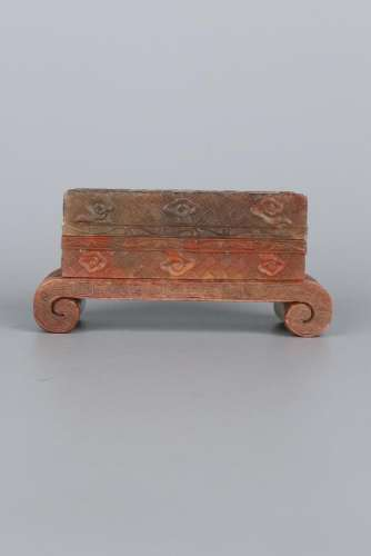 A CARVED SOAPSTONE BOX AND COVER.