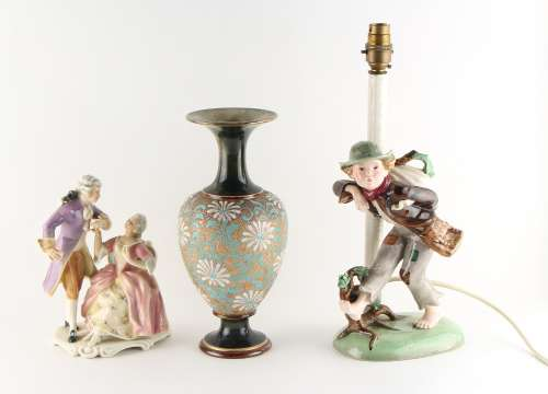 Property of a gentleman - a Dakon ceramic figural table lamp, the pottery 12.6ins. (32cms.) high,