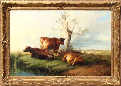 Property of a lady - Thomas Sidney Cooper R.A. (1803-1902) - CATTLE RESTING ON A RIVER BANK, WITH