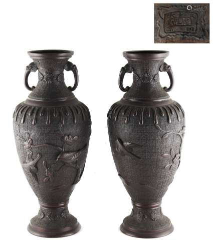 Property of a gentleman - a pair of Japanese bronze two-handled baluster vases, Meiji period (1868-