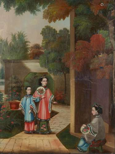 Chinese school (mid 19th century) - THREE FIGURES IN GARDENS - oil on canvas, 15.2 by 11.3ins. (38.6