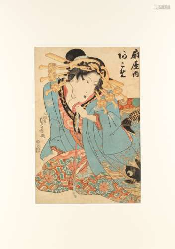 Utagawa Sadakage (fl.1818-1844) - THE COURTESAN AKOME OF OGI-YA - woodblock print, oban, mounted but