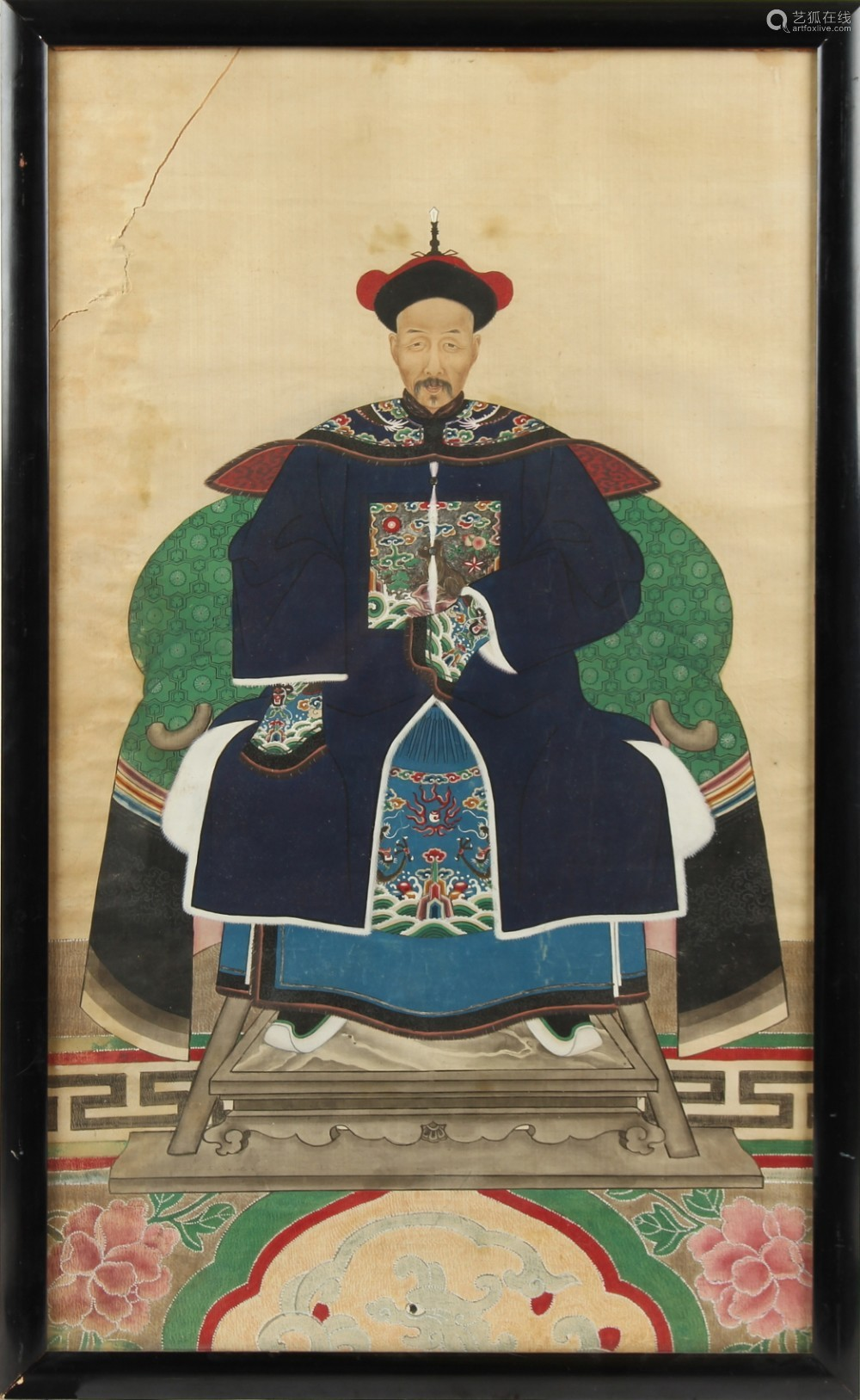 A 19th century Chinese ancestor painting on silk, in glazed frame, 36.8 by 22.7ins. (93.5 by 57.