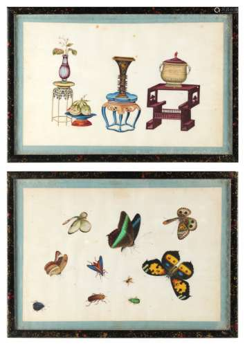 Two 19th century Chinese paintings on pith paper, one depicting furniture & precious objects, the