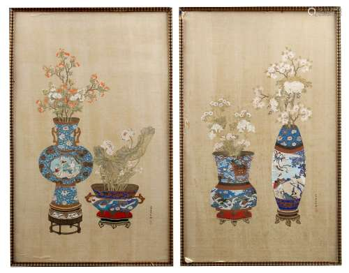 A pair of early 20th century Chinese Republic period paintings on silk depicting flowers in