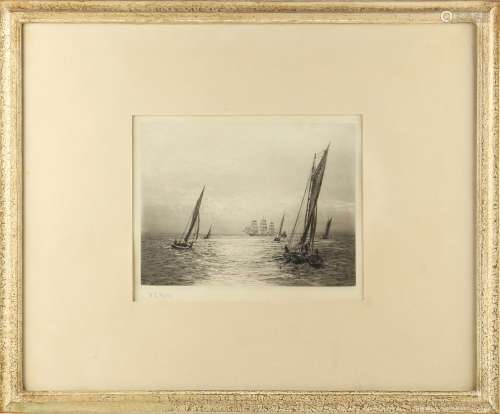 Property of a gentleman - William Lionel Wyllie R.A. R.W.S. (1851-1931) - 'MEDWAY BARGE RACE' -