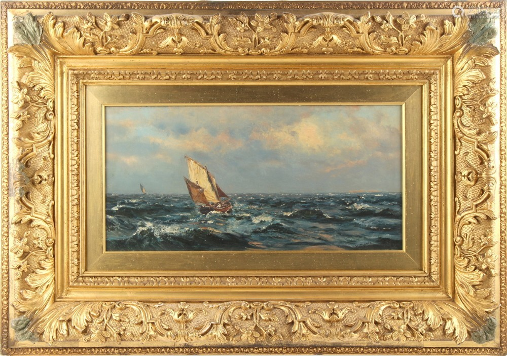 Property of a deceased estate - Henry Moore (1831-1895) - FISHING BOATS IN A SWELL - oil on