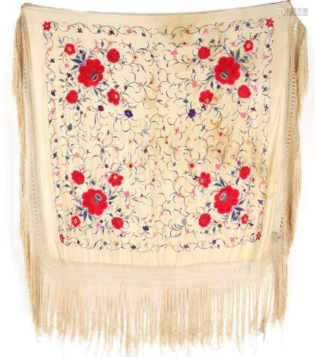 Property of a lady - a late 19th / early 20th century Chinese embroidered cream silk shawl, 51.2