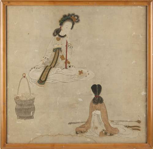 A Chinese painting on paper depicting a seated lady with attendant, 17th / 18th century, the