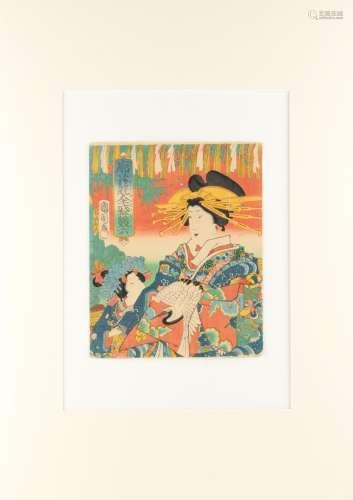 Toyohara Kunichika (1835-1900) - GAMES OF PLEASURE QUARTER SUGOROKU - woodblock print, a package