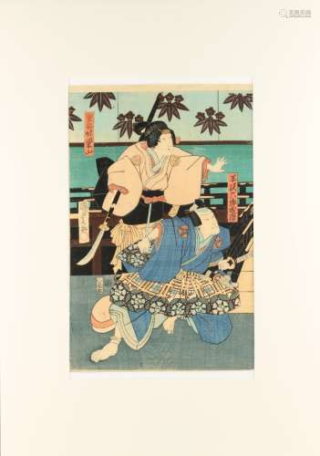 Utagawa Kunisada I (1786-1865) - KABUKI ACTORS PLAYING GENPEI SEISUIKI - woodblock print, oban,