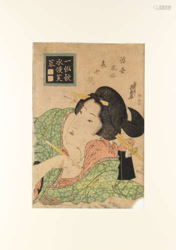 Keisai Eisen (1790-1848) - COMPARISON OF BEAUTIES - woodblock print, oban, mounted but unframed.