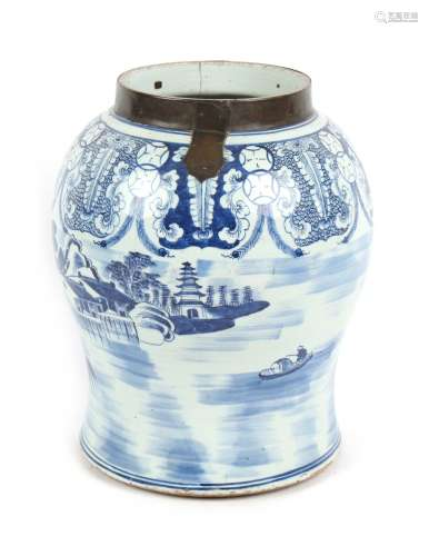 Property of a lady - a large Chinese blue & white porcelain baluster temple jar, 17th / 18th