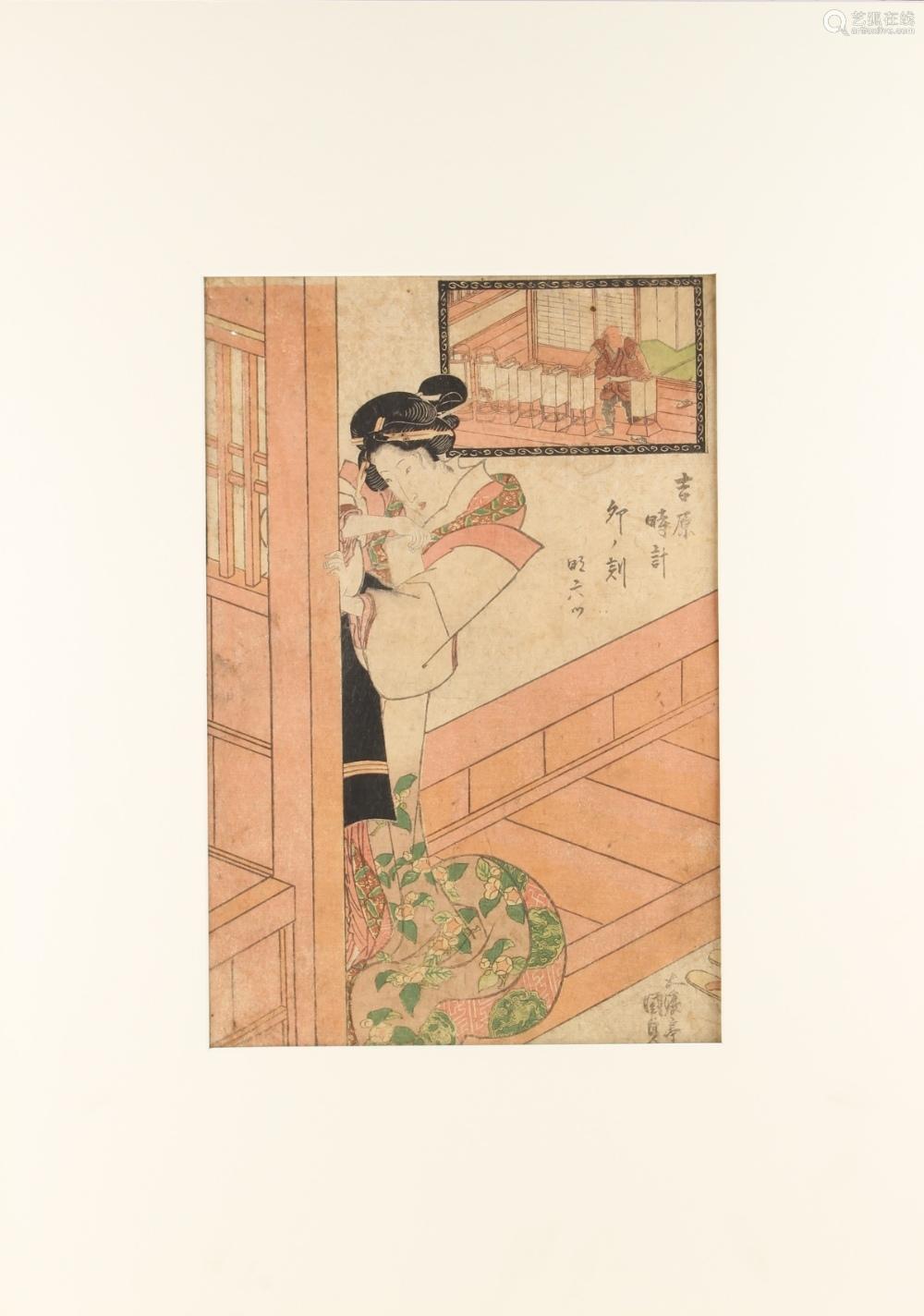 Utagawa Kunisada I (1786-1865) - UNO KOKU AT YOSHIWARA - woodblock print, oban, mounted but