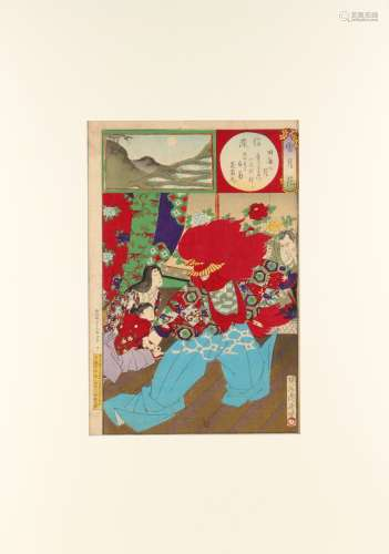 Toyohara Chikanobu (1838-1912) - SHINANO, from SNOW, MOON AND FLOWERS - woodblock print, oban,
