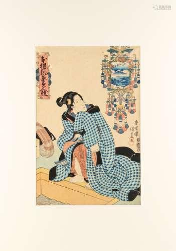 Utagawa Kunisada I (1786-1865) - COMPARISONS OF BEAUTIES AND LANDSCAPES OF JAPAN - woodblock