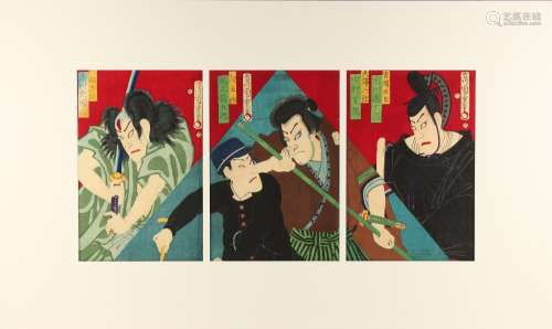 Morikawa Chikashige (fl.1869-1882) - THE KABUKI ACTORS ICHIKAWA DANJURO, NAKAMURA SHIKAN, AND ONOE