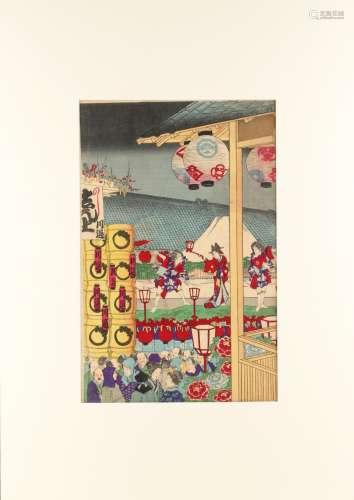 Toyohara Chikanobu (1838-1912) - FESTIVAL IN NOVEMBER, OPEN AIR THEATRE - woodblock print, oban,