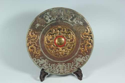 A Chinese Gilt Bronze Mirror