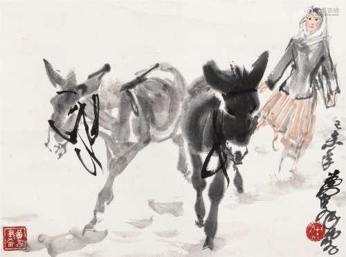 黄胄(1925~1997) 1979年作 少女与驴 立轴 设色纸本