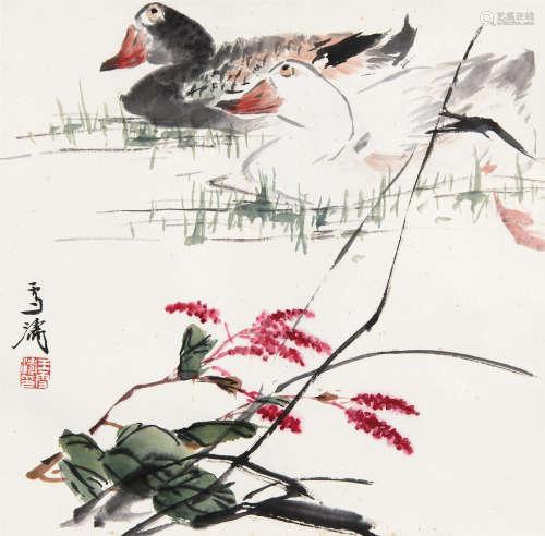 王雪涛(1903~1982) 蓼花双鸭 立轴 设色纸本
