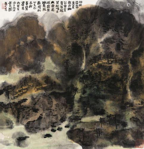 赖少其(1915~2000) 1986年作 秋谷幽泉 立轴 设色纸本