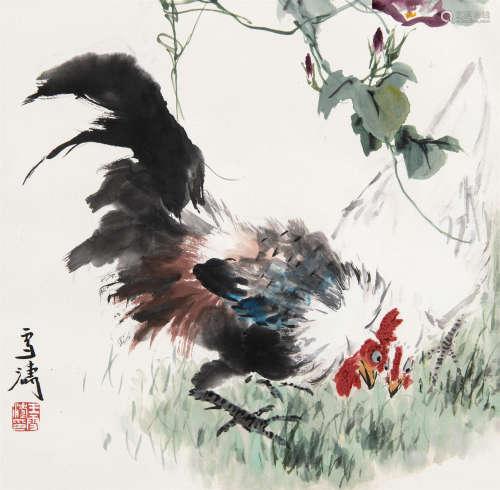 王雪涛(1903~1982) 大吉 立轴 设色纸本