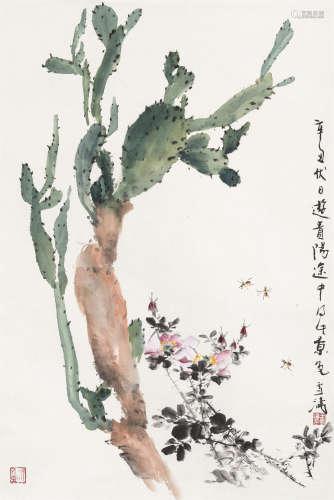王雪涛(1903~1982) 1961年作 蜜蜂蔷薇仙人掌 立轴 设色纸本