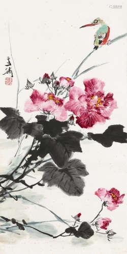 王雪涛(1903~1982) 芙蓉翠鸟 立轴 设色纸本