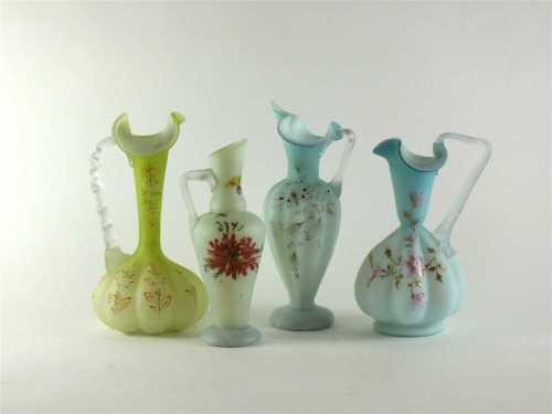 Four Victorian Burmese glass jugs