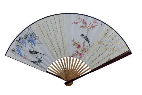 《四季花鸟图》 设色纸本 成扇