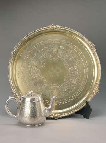 Large tray and tea pot