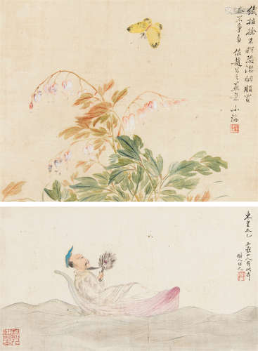 翁小海树人 人物花鸟 (二帧) 镜心 设色绢本