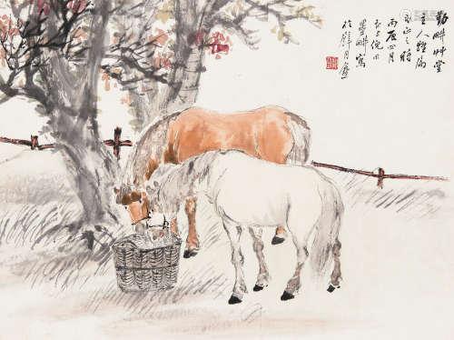 倪田(1855~1919) 1916年作 双骏图 镜心 设色纸本