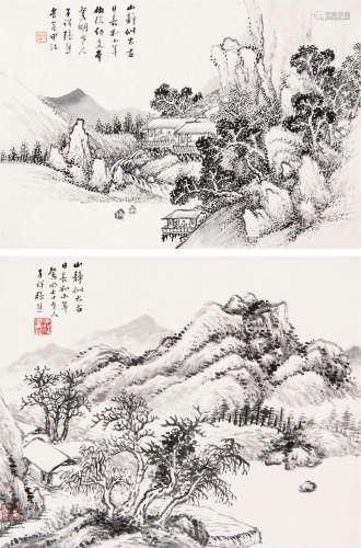 张熊(1803~1886) 山水 (二帧) 镜心 水墨纸本
