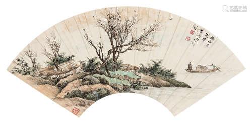 溥伒(1893~1966) 泛舟图 镜心 设色纸本